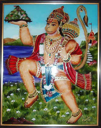 glass paintings of birds. Lord Hanuman - Glass Painting